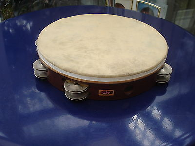 "PTS Remo 10"" Wooden Drum Tambourine with 8 twin sets of jingles"