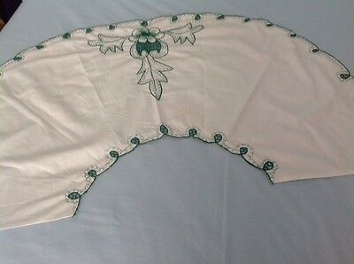 """White With Green Embroidery Cloth- Approx 35"""" Long"""