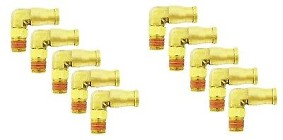 10 pcs Push To Easy Quick Connect Brass Air Male Elbow Fitting 1/4 OD x 1/8 NPT