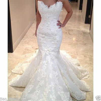 New Mermaid Lace Wedding Dress Long Bridal Gown Custom Size:4 6 8 10 12 14 16 18