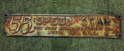 Star Drilling Machine Cast Metal Sign 55 Speed Star Oil Well Advertise Akron Oh