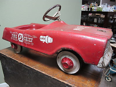 Vintage 1961 Midwest MTD Pedal Car Fire Chief Un-Restored Original Condition