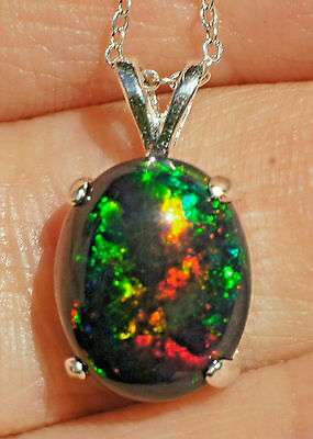2.85ct Floral BLACK WELO OPAL .925 Sterling Silver 12x10mm Oval Pendant Necklace