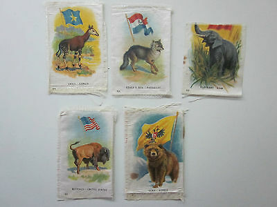 Animals and Flags of the World 5 Canadian Imperial Tobacco Silks Scarce 1915