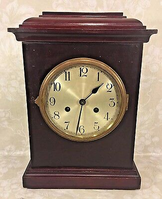 Vtg German Mantel Clock Time & Strike No Pendulum Runs? Silver Face Brass Bezel