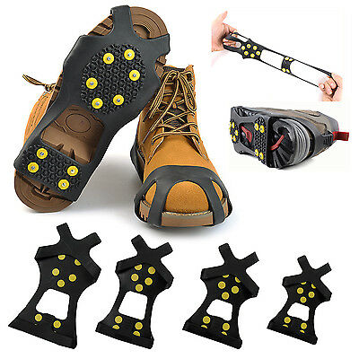 10-Stud Anti-Slip Ice Snow Shoe Spike Grips Cleats Covers Crampons Outdoor Sport