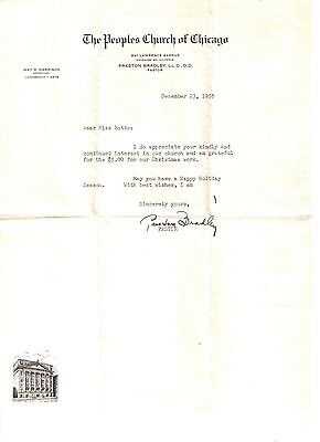 Signed Pastor Preston Bailey Letter - The Peoples Church Of Chicago - 1955