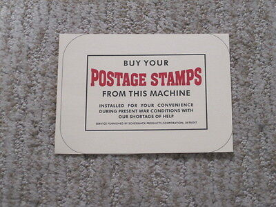Schermack Postage Stamp Machine Replacement Window Display Card! Reproduction #1