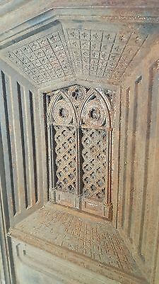 Antique Cast Iron Fireplace Summer Cover Insert Religious Cathedral Fire Place