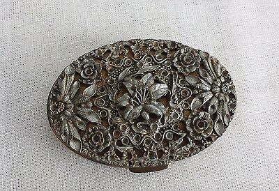 Antique or Vintage Ornate Oval Metal Powder Box with Mirror