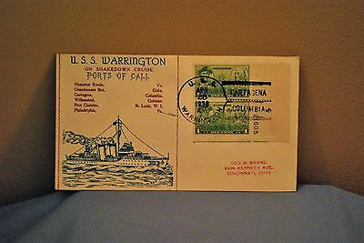 WW2 U.S.S. Warrington Shakedown Cruise First Day Cover 1938