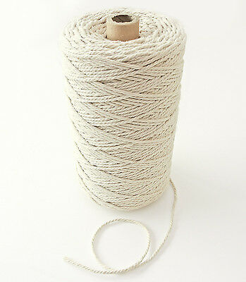 330m Natural Cotton Rope, Ø 3mm, For Craft Projects Cord Gift Wrap Packaging, 1k