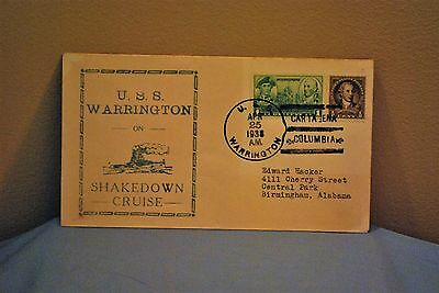 WW2 U.S.S. Warrington On Shakedown Cruise First Day Cover 1938