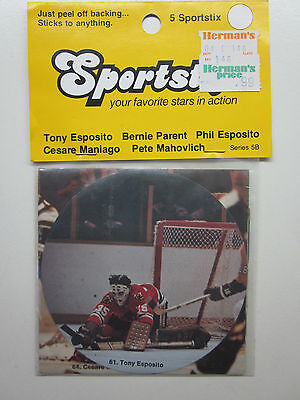 Sportstix NHL Unopened Pack of 5 Stickers Phil Tony Esposito Bernie Parent NOS