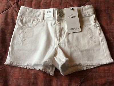 Girls White Denim Shorts By Marks And Spencer Size 7-8 Brand New With Tags