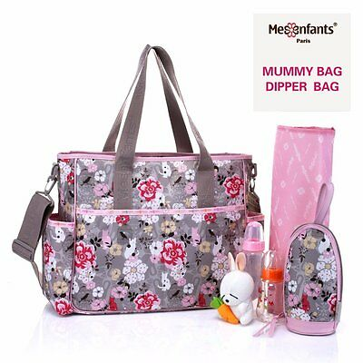 Grey Pink Baby Nappy Diaper Changing Bags Set Mummy Handbag Shoulder Travel Bag