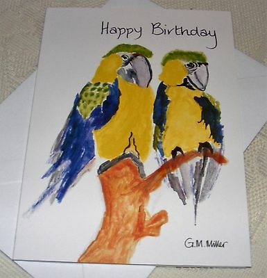 Macaw Parrot Happy Birthday Card Greeting Card Job Lot  5 To 50. 40% Extra Free