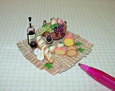 Miniature Wine and Cheese Picnic Spread on Gingham Cloth: DOLLHOUSE 1/12