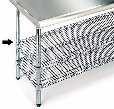 "New Extra Steel Shelf for Steel Work Table 18"" x 48"" Chrome Storage"