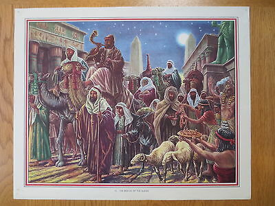 1950'S VINTAGE CLASSROOM POSTER Rescue of the Slaves Bible Stories Macmillans