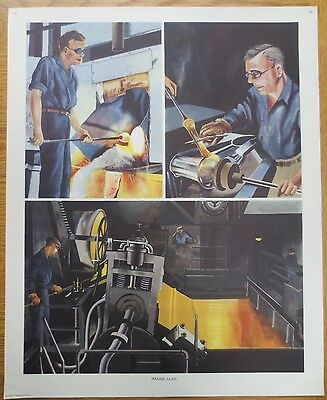VINTAGE CLASSROOM POSTER 1950s Making Glass Factory Industry Macmillan's School