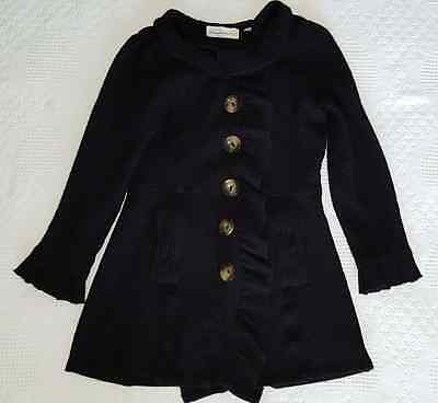 CHARLIE AND ROBIN 100% Wool Button Down Long Sweater Jacket Coat Black Size S