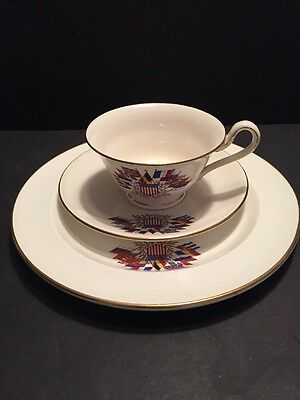 RARE WWI WEDGWOOD LIBERTY QUEEN'S WARE CUP & SAUCER & PLATE c. 1917 ALLIES FLAGS