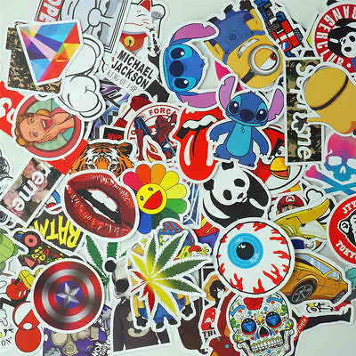 50 Pieces Stickers Skateboard Sticker Graffiti Laptop Luggage Car Decals to