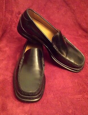COLE HAAN MEN'S NIKE AIR (Size 9m) SANTA BARBARA BLACK SLIP-ON Leather LOAFERS