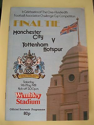 1981 F.a. Cup Final Manchester City V Tottenham Hotspur. Used.