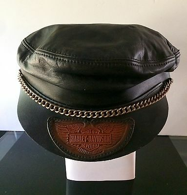Rare! Vintage HARLEY DAVIDSON Leather With A Chain Captains Adjustable Hat.