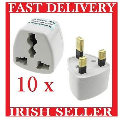 10x Euro European Converter EU 2 to 3 Pin Plug UK Travel Mains Power Adaptor #15
