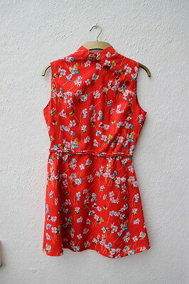vintage dress 1960s Oriental Chinese High neck collar red floral mini summer