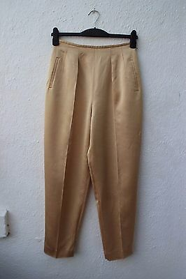 vintage gold trousers tapered peg leg size 12 1990s 80s evening