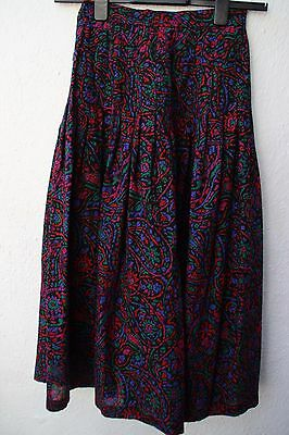 vintage skirt black  mid-length high waisted aztec patterned size 8 wool