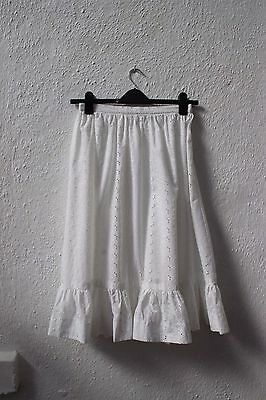 vintage white skirt embroidery anglaise full 1970s prairie frill mid-length