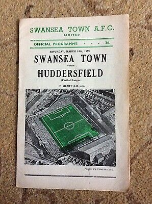 swansea town vhuddersfield football programme 14 march 1959 at vetch div 2
