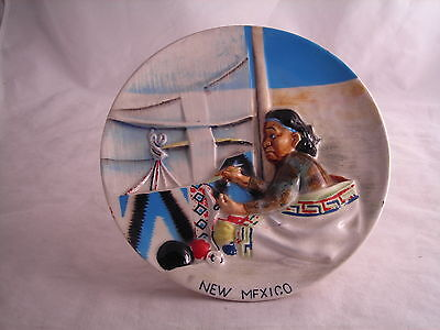 """New Mexico Souvenir State  Plate Vintage Molded Indian Weaver 8 1/8"""" Nico Japan"""