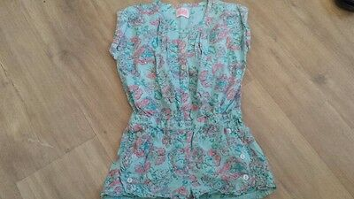 Girls blue floral cotton &linen playsuit age 5-6 years