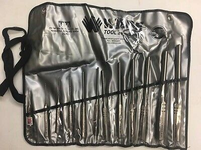 Wilde Tool 12 Pc Professionall Roll Pin Punch Set With Roll Case