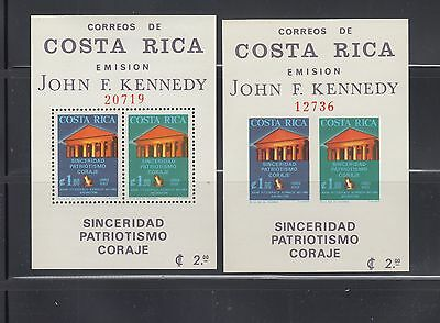 Costa Rica 1965 Kennedy Monument  MS C420a  perf & imperf mint never hinged