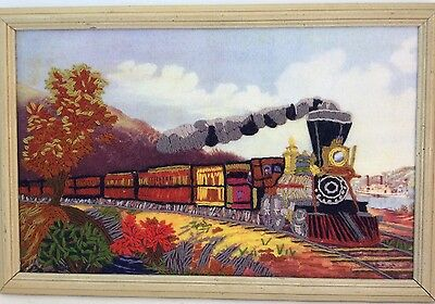 Currier & Ives Train Crewel Embroidery American Express Finished Piece in Frame