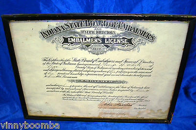 Vintage Indiana Funeral Home License State Embalmer 1933 Wall Display Framed !!!