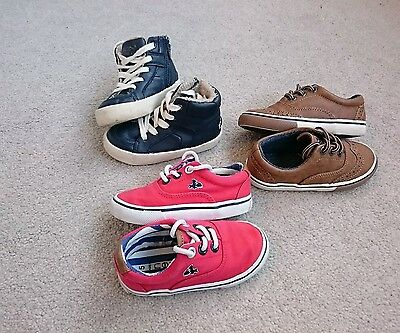 3 x Boys next Zara brown blue red shoes boots size infant 5 and 6 bundle