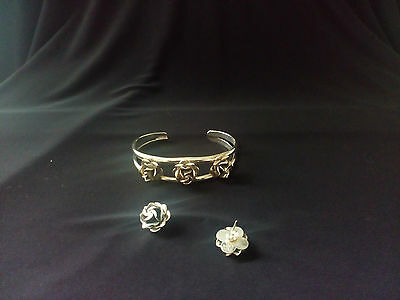 Mexican Silver 925 Roses Bracelet And Earrings Set