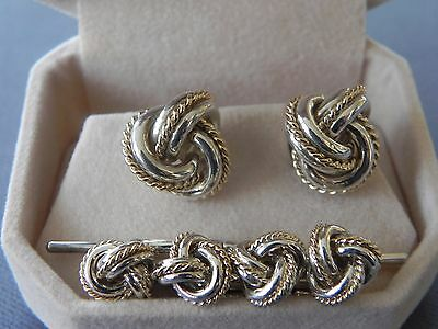 Tiffany 18K Yellow Gold .925 Sterling Double Knot Cuff Link Stud Evening Set