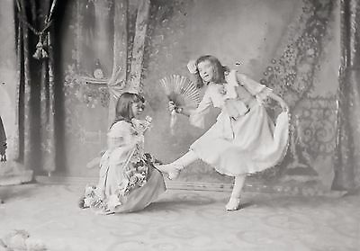 Young Girl Performers Theatre Portrait Vintage Original Glass Plate Negative