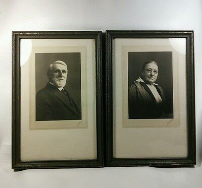 Vtg Victorian 1916 Pair Wood Frame Haunting Husband Wife Portrait Pictures