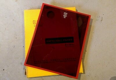 "Kodak safelight glass filter 8"" x 10"" Wratten No.1A Red darkroom photography"