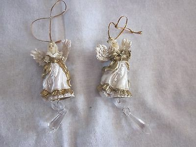 Two Vintage Christmas Tree Angel Ornaments